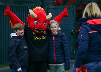 20191006 TUBIZE: Red Flames fans are having their photos takenwith mascot Red at the Open Training of Red Flames on Sunday 6th of October 2019, Tubize, Belgium  PHOTO SPORTPIX.BE | SEVIL OKTEM