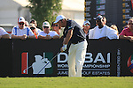 Damien McGrane teeing off on the first.on day one of the Dubai World Championship on the Earth Course at the Jumeirah Golf Estate, Dubai..Picture Fran Caffrey/www.golffile.ie.