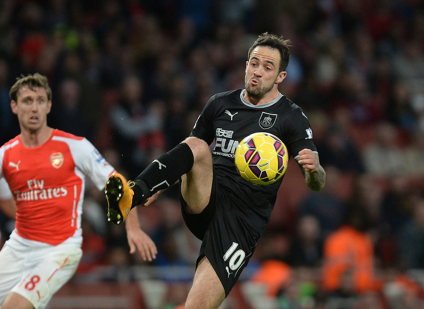 Burnley's Danny Ings in action during todays match  <br /> <br /> Photographer Ian Cook/CameraSport<br /> <br /> Football - Barclays Premiership - Arsenal v Burnley - Saturday 1st November 2014 - Emirates Stadium - London<br /> <br /> &copy; CameraSport - 43 Linden Ave. Countesthorpe. Leicester. England. LE8 5PG - Tel: +44 (0) 116 277 4147 - admin@camerasport.com - www.camerasport.com