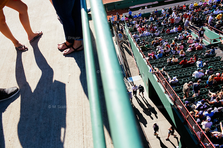 BOSTON, MASS. - SEPT. 28, 2014: People watch from behind the outfield during the New York Yankees and Boston Red Sox game at Fenway Park. The game is last game of Derek Jeter's career. M. Scott Brauer for The New York Times