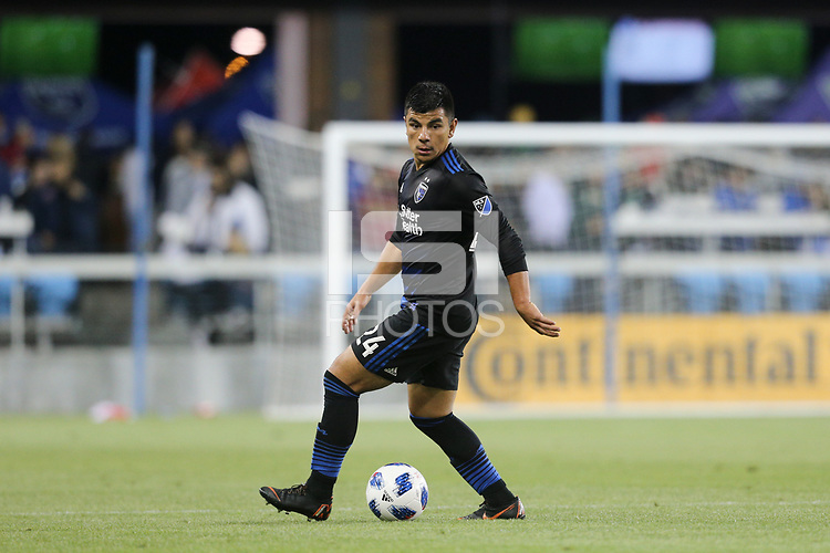 San Jose, CA - Saturday May 19, 2018: Nick Lima during a Major League Soccer (MLS) match between the San Jose Earthquakes and D.C. United at Avaya Stadium.