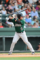 Left fielder WIll Callaway (11) of the Augusta GreenJackets bats in a game against the Greenville Drive on Thursday, June 11, 2015, at Fluor Field at the West End in Greenville, South Carolina. Greenville won, 10-1. (Tom Priddy/Four Seam Images)