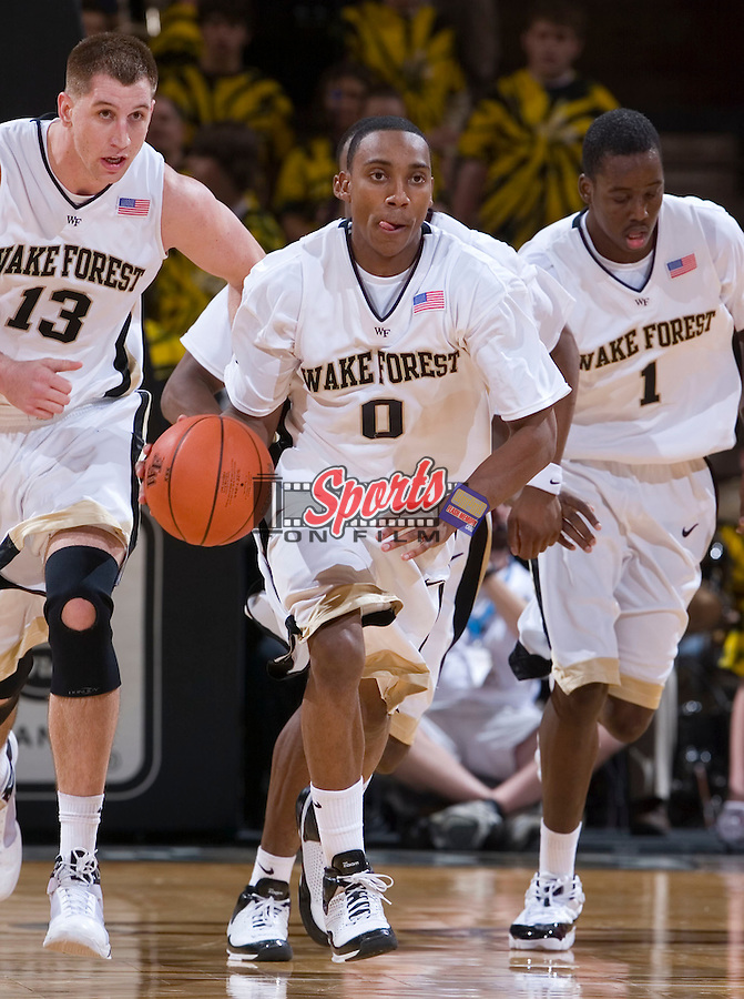 Jeff Teague #0 of the Wake Forest Demon Deacons starts a fast break during second half action versus the Radford Highlanders at the LJVM Coliseum December 30, 2008 in Winston-Salem, NC. (Photo by Brian Westerholt / Sports On Film)