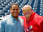 13 July 2008: Washington Nationals' Director of Team Travel Rob McDonald (left) poses with Assistant Athletic Trainer Michael McGowan (right) prior to a game against the Houston Astros at Nationals Park in Washington, DC. The Astros shut out the Nationals 5-0 to take the rubber match of their 3-game series, as both teams head into the All-Star break and the second half of the 2008 season...Mandatory Photo Credit: Ed Wolfstein Photo