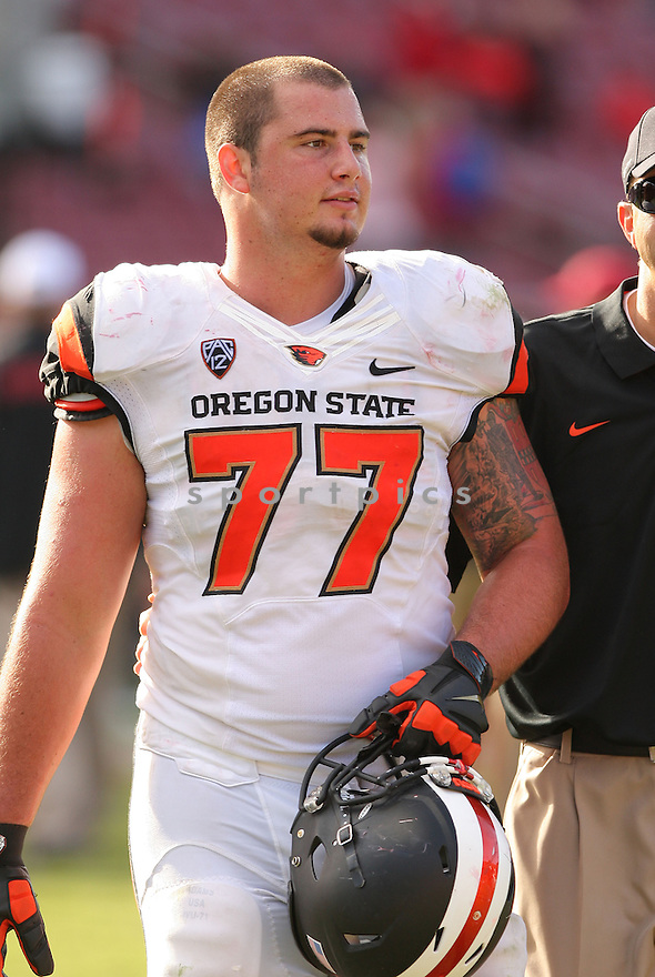Oregon State Beavers Sean Harlow (77) during a game against the Stanford Cardinal on October 25, 2014 at Stanford Stadium in Stanford, CA. Stanford beat Oregon State 38-14.