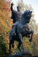 Bronze statue of Tamerlane on his horse in Tashkent, Uzbekistan