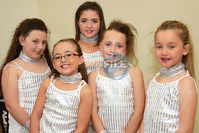 Waiting to go on stage in the Mary Simpson Stage School 20th anniversary concert were (from left) Sophie Emma McConnon, Sophia Smyth, Rhianna Downey, Alicia Gallagher and Hannah Leech. Photo: Andy Spearman. www.newsfile.ie
