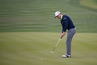 Zach Johnson (USA) sinks his putt on 9 during Round 2 of the Valero Texas Open, AT&T Oaks Course, TPC San Antonio, San Antonio, Texas, USA. 4/20/2018.<br /> Picture: Golffile | Ken Murray<br /> <br /> <br /> All photo usage must carry mandatory copyright credit (© Golffile | Ken Murray)