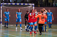 20190915– HALLE , BELGIUM : FP Halle-Gooik Girls B's Blerina Nuhiji is pictured celebrating the captain's goal with their goal keeper Ulrike Duyck at the Belgian Women's Futsal D1 match between FP Halle-Gooik A and FP Halle-Gooik B on Sunday 15th 2019 at the De Bres Sport Complex in Halle, Belgium. PHOTO SPORTPIX.BE | Sevil Oktem