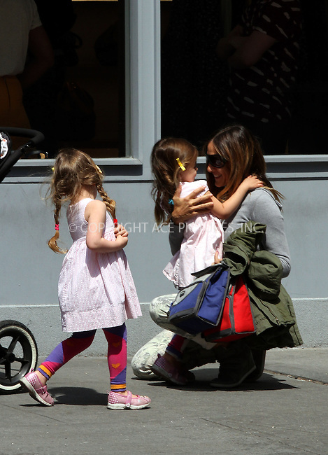 WWW.ACEPIXS.COM....April 15 2013, New York City....Actress Sarah Jessica Parker picked up twins Tabitha and Marion from school on April 15 2013 in New York City......By Line: Zelig Shaul/ACE Pictures......ACE Pictures, Inc...tel: 646 769 0430..Email: info@acepixs.com..www.acepixs.com