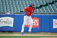 Buffalo Bisons Bo Bichette (13) leads off first base during an International League game against the Indianapolis Indians on June 20, 2019 at Sahlen Field in Buffalo, New York.  Buffalo defeated Indianapolis 11-8  (Mike Janes/Four Seam Images)