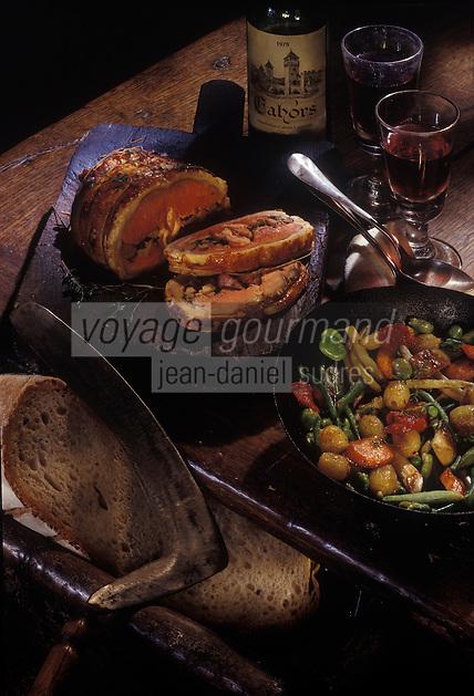 """Europe/France/Midi-Pyrénées/46/Lot : Selle d'agneau rôtie à la broche - Recette de M. Dussau du restaurant """"Château de Mercues"""""""