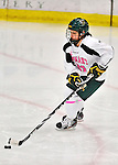 29 January 2012: University of Vermont Catamount forward Amanda Pelkey, a Freshman from Montpelier, VT, in action against the University of New Hampshire Wildcats at Gutterson Fieldhouse in Burlington, Vermont. The Lady Cats, dressed in their Breast Cancer Awareness jerseys, edged out the Wildcats 2-1 to split their Hockey East twin-game weekend series. Mandatory Credit: Ed Wolfstein Photo