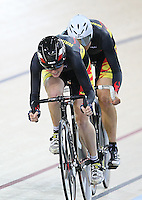Waikato BOP Racquel Sheath and Jaime Nielson  at the BikeNZ Elite & U19 Track National Championships, Avantidrome, Home of Cycling, Cambridge, New Zealand, Sunday, March 16, 2014. Credit: Dianne Manson