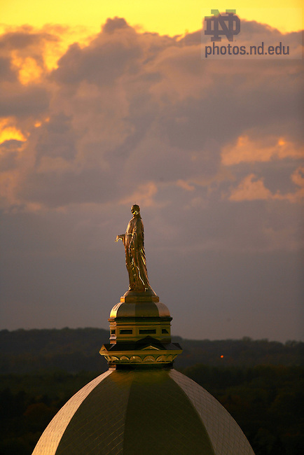 Mary statue atop the Golden Dome on the Main Building of The University of Notre Dame