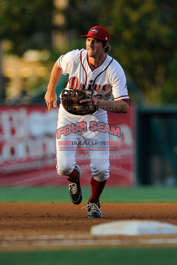First baseman Jantzen Witte (35) of the Greenville Drive in a game against the Lexington Legends on Wednesday, June 4, 2014, at Fluor Field at the West End in Greenville, South Carolina. Lexington won, 9-3. (Tom Priddy/Four Seam Images)