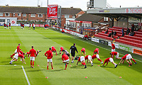 Fleetwood Town players warm up before the match<br /> <br /> Photographer Alex Dodd/CameraSport<br /> <br /> The EFL Sky Bet League One - Fleetwood Town v Accrington Stanley - Saturday 15th September 2018  - Highbury Stadium - Fleetwood<br /> <br /> World Copyright &copy; 2018 CameraSport. All rights reserved. 43 Linden Ave. Countesthorpe. Leicester. England. LE8 5PG - Tel: +44 (0) 116 277 4147 - admin@camerasport.com - www.camerasport.com