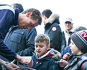 2nd February 2019, Turf Moor, Burnley, England; EPL Premier League football, Burnley versus Southampton; Peter Crouch of Burnley signs his autograph for some young fans