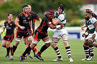 Ben West of Ealing Trailfinders is tackled by Brandon Nansen of the Dragons. Pre-season friendly match, between Ealing Trailfinders and the Dragons on August 11, 2018 at the Trailfinders Sports Ground in London, England. Photo by: Patrick Khachfe / Onside Images