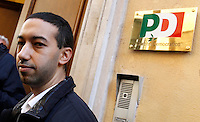 Il deputato del Partito Democratico Khalid Chaouki prende parte alla manifestazione sotto la sede del suo partito, per chiedere la chiusura dei Centri di Identificazione ed Espulsione (CIE) e dei Centri di Accoglienza per Richiedenti Asilo (CARA), a Roma, 27 dicembre 2013.<br /> Italian Democratic Party's lawmaker Khalid Chaouki attends a protest to ask for the closure of migrants Identification and Expulsion Centers (CIE) and Askers for Asylum Welcome Centers (CARA) in front of his party's headquarters in Rome, 27 December 2013.<br /> UPDATE IMAGES PRESS/Isabella Bonotto