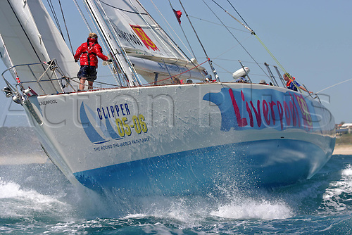 24 January 2006: Liverpool Clipper powers out of Fremantle harbour bound for Singapore during the 68ft yacht Clipper 05-06 round the world yacht race Photo: Ingrid Abery/actionplus...sailing yachting yacht boat 060124 sail