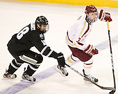Rob Maloney (PC - 18), Patch Alber (BC - 3) - The Boston College Eagles defeated the Providence College Friars 7-0 on Saturday, February 25, 2012, at Kelley Rink at Conte Forum in Chestnut Hill, Massachusetts.