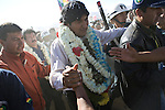 &copy;PATRICIO CROOKER<br /> Cochabamba, Bolivia<br /> A picture dated August 2, 2007 shows Bolivian Presidente Evo Morales walking into the crowd during the Day of the Native Bolivian and the Agrarian Reform in a town close to the city of Cochabamba.