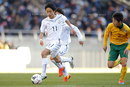 Tatsuhiro Sakamoto (Maebashi Ikuei), <br /> JANUARY 12, 2015 - Football / Soccer : <br /> 93rd All Japan High School Soccer Tournament final match between Maebashi Ikuei 2-4 Seiryo at Sitama Stadium 2002, Saitama, Japan. <br /> (Photo by Yusuke Nakanishi/AFLO SPORT) [1090]