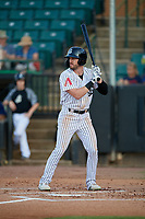 Jackson Generals Evan Marzilli (7) at bat during a Southern League game against the Mississippi Braves on July 23, 2019 at The Ballpark at Jackson in Jackson, Tennessee.  Mississippi defeated Jackson 1-0 in the second game of a doubleheader.  (Mike Janes/Four Seam Images)