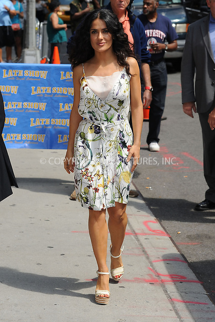 WWW.ACEPIXS.COM . . . . . <br /> July 10, 2013...New York City<br /> <br /> Salma Hayek Pinault arrives to tape an appearance on the Late Show with David Letterman on July 10, 2013  in New York City.<br /> <br /> Please byline: Kristin Callahan - ACEPIXS.COM.. . . . . . ..Ace Pictures, Inc: ..tel: (212) 243 8787 or (646) 769 0430..e-mail: info@acepixs.com..web: http://www.acepixs.com