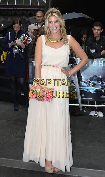 Francesca 'Cheska' Hull.'The Dark Knight Rises' European premiere at Odeon Leicester Square cinema, London, England..18th July 2012.full length white cream beige sleeveless dress clutch bag pink red necklace hand on hip.CAP/ROS.©Steve Ross/Capital Pictures.