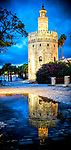 Torre del Oro (Tower of Gold) reflected on a rain puddle. The Tower of Gold is a moorish building from the 12th century.