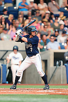 First overall draft pick in the 2015 Major League Baseball Player Draft, Dansby Swanson (7) of the Hillsboro Hops bats during a game against the Boise Hawks at Ron Tonkin Field on August 22, 2015 in Hillsboro, Oregon. Boise defeated Hillsboro, 6-4. (Larry Goren/Four Seam Images)