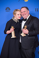 For BEST TELEVISION SERIES &ndash; DRAMA, the Golden Globe is awarded to &quot;The Handmaid's Tale&quot; (HULU). Elizabeth Moss and producer Bruce Miller pose with the award backstage in the press room at the 75th Annual Golden Globe Awards at the Beverly Hilton in Beverly Hills, CA on Sunday, January 7, 2018.<br /> *Editorial Use Only*<br /> CAP/PLF/HFPA<br /> &copy;HFPA/PLF/Capital Pictures