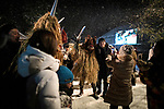 OGA, JAPAN - FEBRUARY 10: Men dressed in straw clothes and orge masks as Namahage, or mountain demons takes photos with festival goers during the Namahage Sedo Festival at Shinzan Shrine on February 10, 2019 in Oga, Akita prefecture, Japan. Namahage visit each house to admonish sluggards to mend their ways, ward off disasters and offer blessings, looking for evil children, in the area on New Year's Eve. In the festival, which combines the local event of the ceremony of the shrine, visitors can experience these traditions and its folk culture. (Photo by Richard Atrero de Guzman/Aflo)
