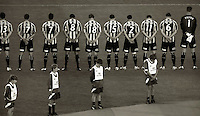 Phoenix players pay tribute to the victims of the Greymouth mining disaster with a minute's silence. A-League football - Wellington Phoenix v Melbourne Heart at Westpac Stadium, Wellington on Wednesday, 24 November 2010. Photo: Dave Lintott / lintottphoto.co.nz