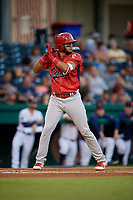 Peoria Chiefs catcher Dennis Ortega (28) at bat during a game against the Bowling Green Hot Rods on September 15, 2018 at Bowling Green Ballpark in Bowling Green, Kentucky.  Bowling Green defeated Peoria 6-1.  (Mike Janes/Four Seam Images)