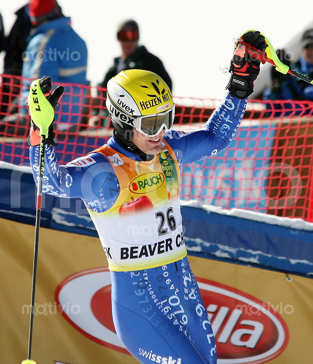 Ski Alpin; Saison 2006/2007  Slalom Herren JUBEL; Daniel Albrecht (SUI) belegt Platz 4.