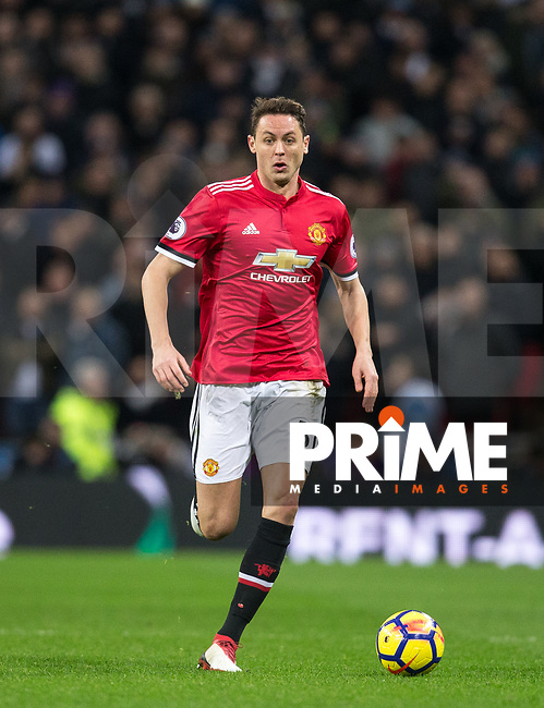 Nemanja Matic of Man Utd during the Premier League match between Tottenham Hotspur and Manchester United at Wembley Stadium, London, England on 31 January 2018. Photo by Andy Rowland.