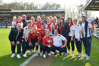 Stevenage Ladies  parade the cup  during Stevenage vs Cambridge United, Sky Bet EFL League 2 Football at the Lamex Stadium on 14th April 2018