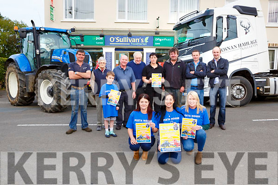Mary B Carey centre with Marie O'Shea left and Stacey Horan launched the inaugural Eamon Carey Memorial Tractor/Truck run in aid of Pieta House which will be held in Castleisland/Currow on Sunday 8th October back row l-r: John Kelly, Mai Nagle, Ben Brosnan, Gerard O'Sullivan, Sean Cunnife,  John Francis O'Sullivan, Diarmuid Lenihan and James O'Sullivan