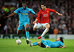 Gianluca Zambrotta of Barcelona tackles Manchester United's Cristiano Ronaldo with Yaya Toure of Barcelona during the Champions League semi-final 2nd leg match at Old Trafford, Manchester. Picture date 29th April 2008. Picture credit should read: Simon Bellis/Sportimage