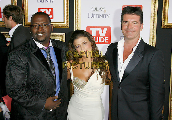 RANDY JACKSON, PAULA ABDUL & SIMON COWELL.59th Annual Primetime Emmy Awards - TV Guide After Party 2007 held at Les Deux, Hollywood, California, USA..September 16th, 2007.half length white cleavage silver dress black jacket suit glasses.CAP/ADM/ZL.©Zach Lipp/AdMedia/Capital Pictures.