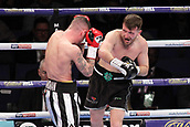 24th March 2018, O2 Arena, London, England; Matchroom Boxing, WBC Silver Heavyweight Title, Dillian Whyte versus Lucas Browne; Undercard fight between  Lewis Ritson versus Scott Cardle British Lightweight championship; Scott Cardle launches an attack on Lewis Ritson during the first round