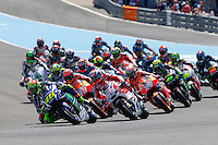 Valentino Rossi, Jorge Lorenzo in MotoGP race in Motorcycle Championship GP, in Jerez, Spain. April 24, 2016