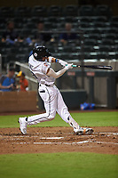 Salt River Rafters Royce Lewis (9), of the Minnesota Twins organization, hits a home run during an Arizona Fall League game against the Mesa Solar Sox on September 19, 2019 at Salt River Fields at Talking Stick in Scottsdale, Arizona. Salt River defeated Mesa 4-1. (Zachary Lucy/Four Seam Images)