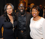Tina Knowles, Marcus R. Harris and Sharon Owens at the City of Houston's Birthday Bash at the George R. Brown Convention Center Tuesday Aug. 19,2008.(Dave Rossman/For the Chronicle)