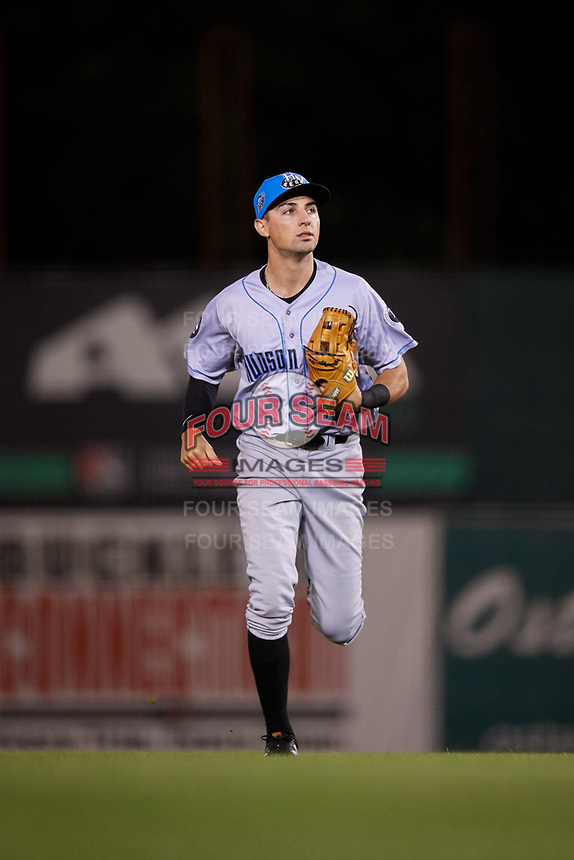 Hudson Valley Renegades right fielder Jordan Qsar (9) jogs back to the dugout during a game against the Connecticut Tigers on August 20, 2018 at Dodd Stadium in Norwich, Connecticut.  Hudson Valley defeated Connecticut 3-1.  (Mike Janes/Four Seam Images)