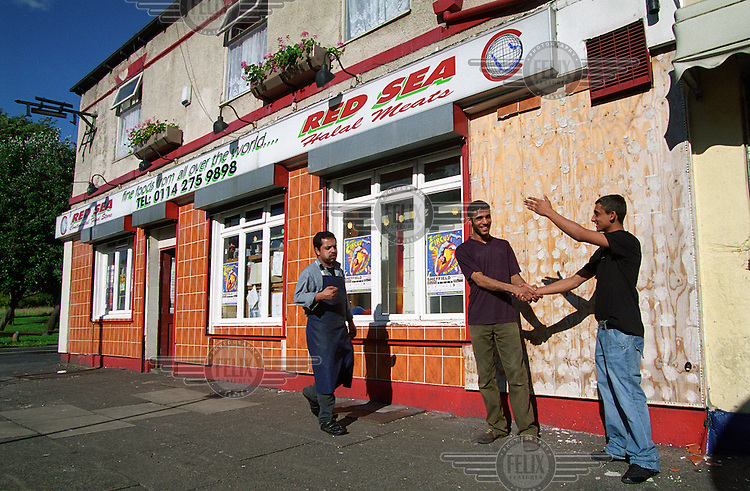 A Yemeni owned shop selling halal food and other goods for the Arabic community in Burngreave, Sheffield.