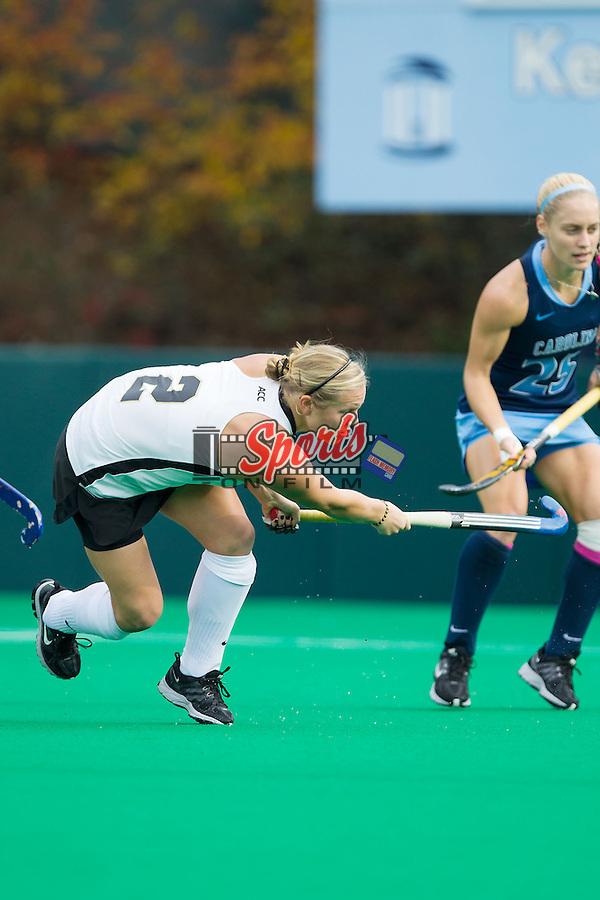 Taylor Rhea (2) of the Wake Forest Demon Deacons follows through with a shot on goal during first half action against the nc\ at Francis E. Henry Stadium on November 17, 2013 in Chapel Hill, North Carolina.  The Tar Heels defeated the Demon Deacons 5-2. (Brian Westerholt/Sports On Film)